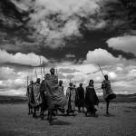 PHOTO PICTURE AFRICA TANZANIA B/W BLACK AND WHITE PEOPLE MASSAI SERENGETI
